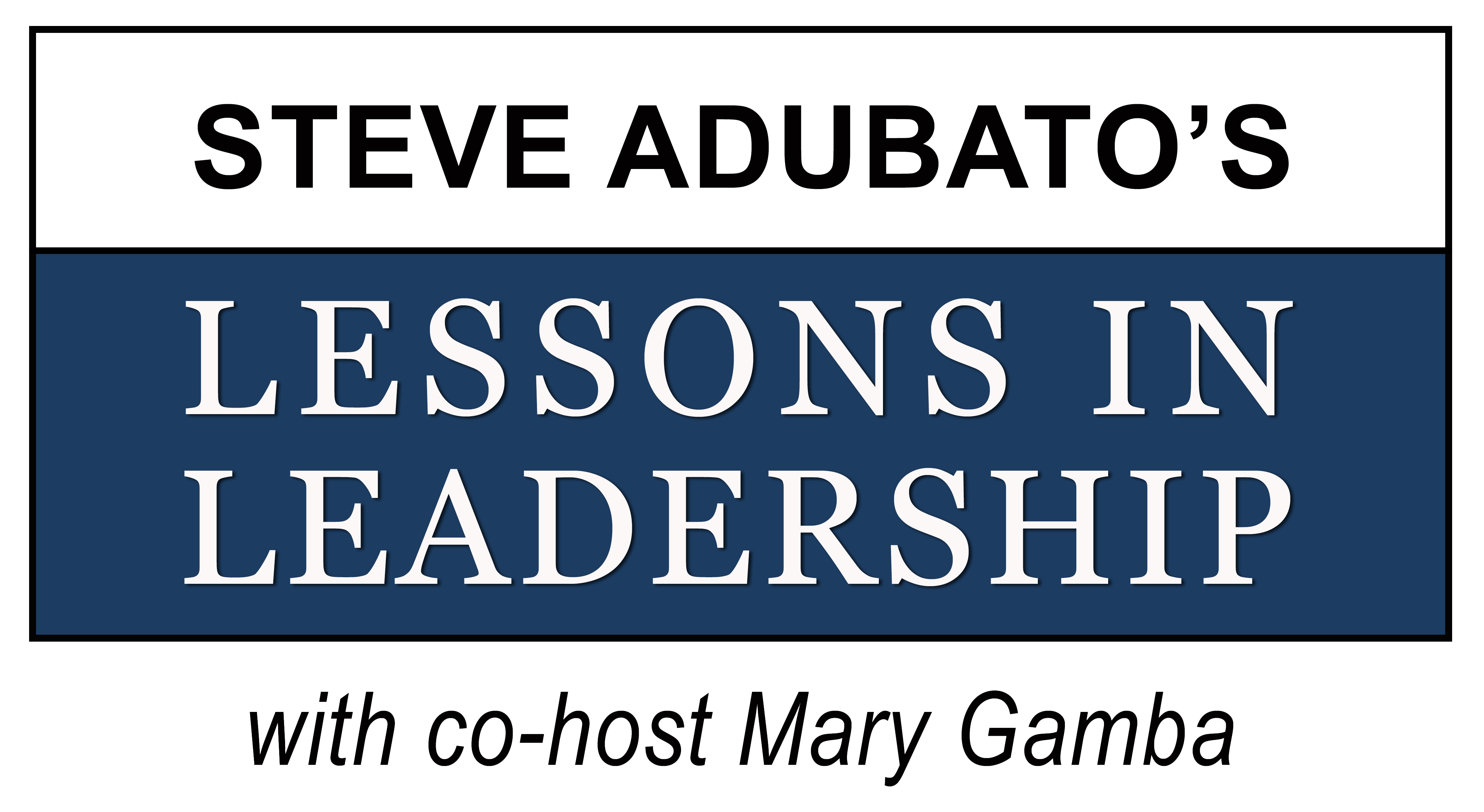 LESSONS IN LEADERSHIP blue logo with